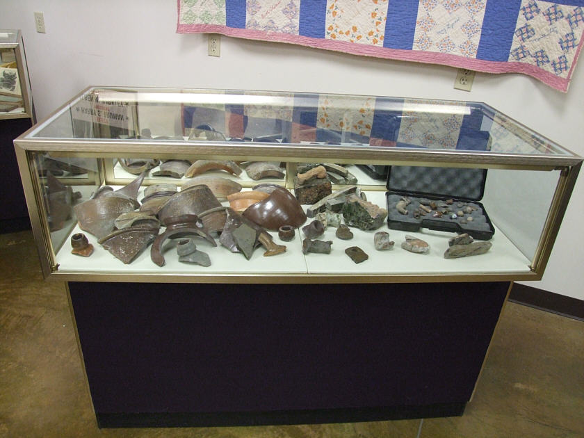 Display of Caldwell Pottery Shards