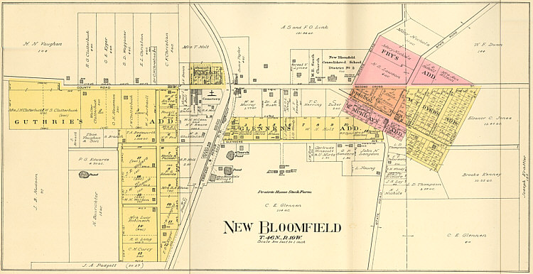 Map of New Bloomfield - 1919
